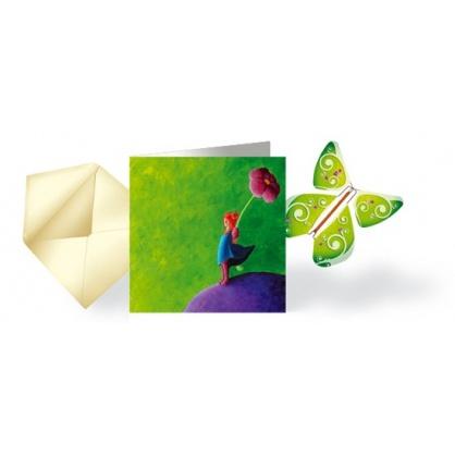 Carte Fille-fleur& Papillon volant