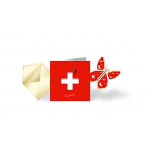 Karte & fliegender Schmetterling SWITZERLAND