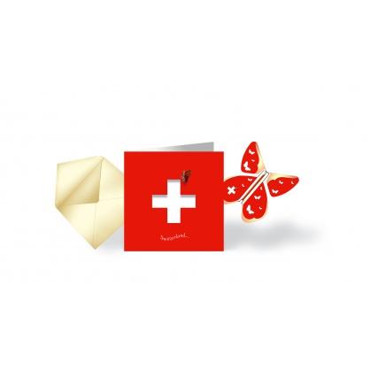 Card & flying Butterfly  SWITZERLAND