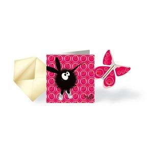 Carte Fille Fleur et papillon volant assorti