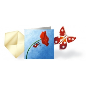 Card ladybug & flying Butterfly