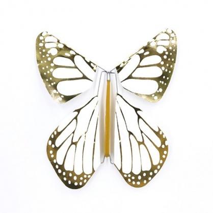 Pack 5 Schmetterlinge  New white-Gold Metall