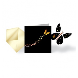 5 Party Cards & Magic Butterfly