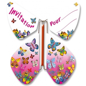 Pack 10 Papillons volants invitation