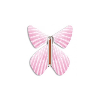 Papillon volant rose plume