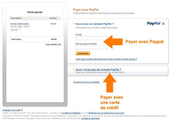 Processus de paiement sans compte Paypal